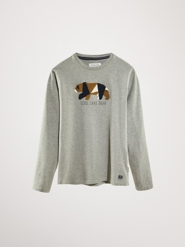 BEAR PRINT COTTON LONG SLEEVE T-SHIRT