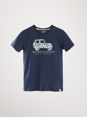 'HAPPINESS ON THE ROAD' COTTON T-SHIRT WITH CAR MOTIF