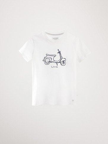 COTTON T-SHIRT WITH MOTORBIKE MOTIF