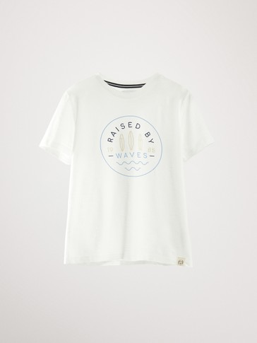 'RAISED BY WAVES' COTTON T-SHIRT