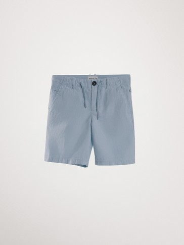 COTTON AND LINEN BERMUDA SHORTS