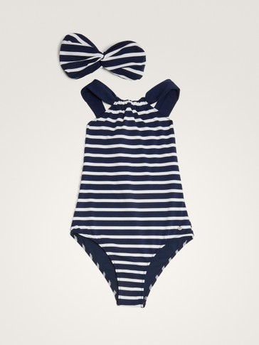 NAUTICAL SWIMSUIT WITH HEADBAND