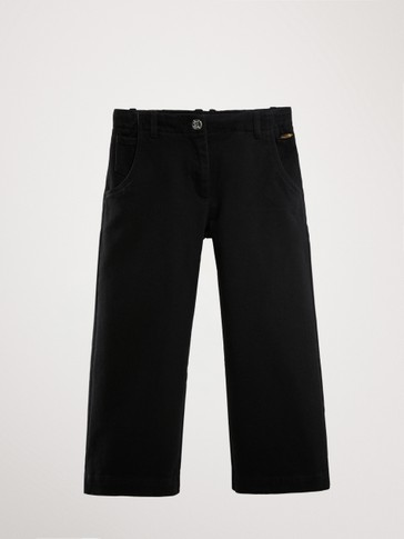 BLACK CULOTTE FIT TROUSERS