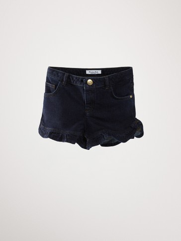 REGULAR FIT RUFFLED DENIM SHORTS