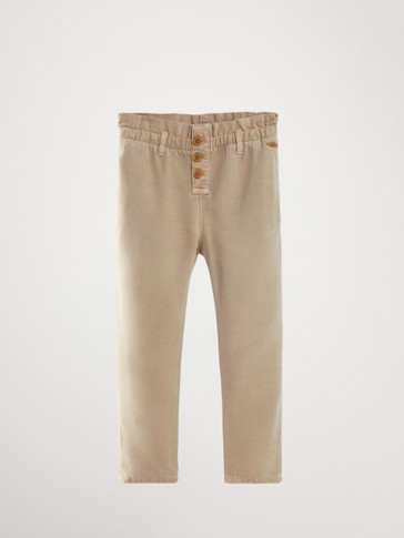FLOWING LYOCELL TROUSERS WITH RUFFLE WAIST