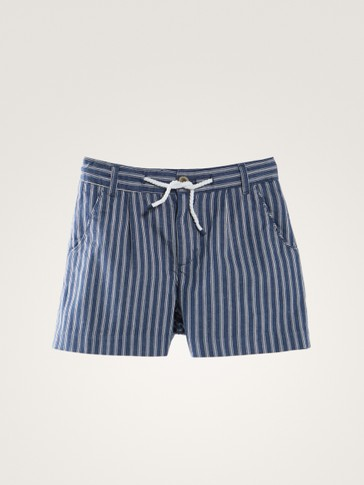 STRIPED BERMUDA SHORTS WITH DRAWSTRING