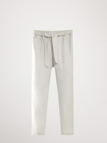 LINEN TIE-STYLE TROUSERS