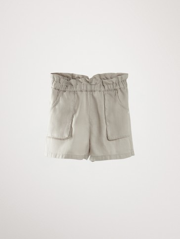 ELASTIC WAIST BERMUDA SHORTS WITH POCKETS