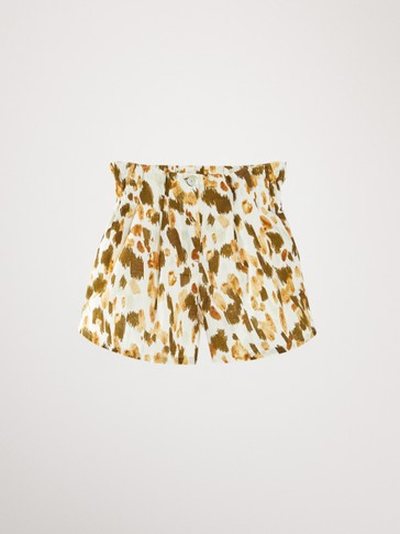 Linen cotton print bermuda shorts