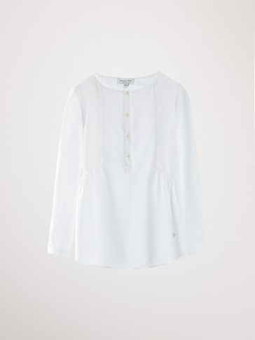 COTTON SHIRT WITH LACE TRIM