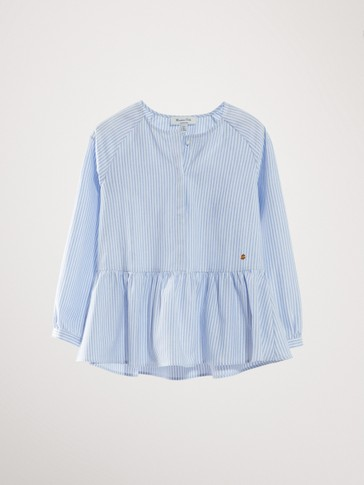 STRIPED COTTON SHIRT WITH RUFFLED HEM