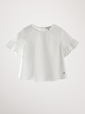 COTTON SHORT SLEEVE RUFFLED SHIRT