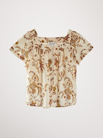 FLORAL PRINT SHIRT WITH METALLIC THREAD
