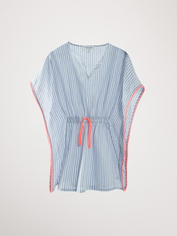 Striped cotton kaftan