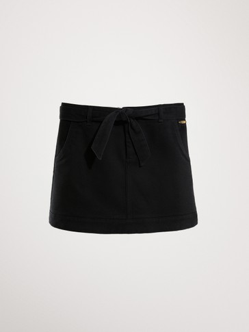 BLACK COTTON SKIRT WITH BELT