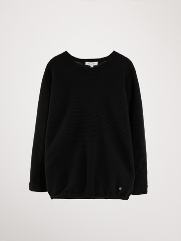 BLACK PURL KNIT WOOL SWEATER