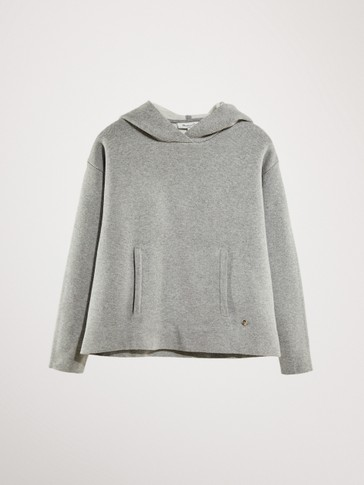 DOUBLE-FACED HOODED COTTON SWEATER