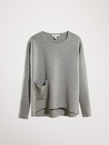 COTTON AND CASHMERE SWEATER WITH POCKET