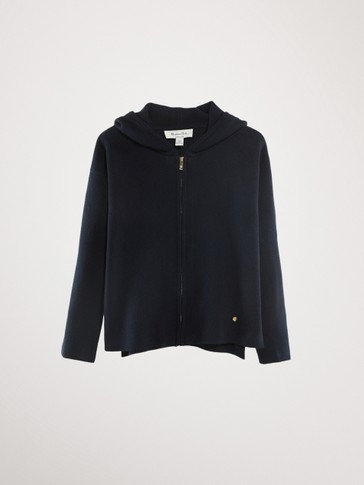 NAVY COTTON CARDIGAN WITH HOOD