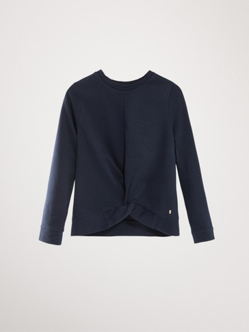 NAVY BLUE COTTON KNOTTED SWEATSHIRT