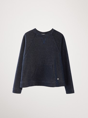 SHIMMER COTTON SWEATSHIRT WITH POCKET