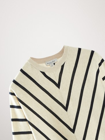 STRIPED COTTON CAPE SWEATER