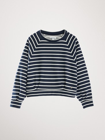STRIPED NAVY BLUE SWEATSHIRT