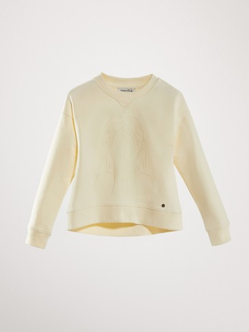 COTTON SWEATSHIRT WITH CONTRASTING DETAIL
