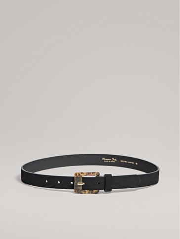 BLACK LEATHER BELT WITH CONTRAST BUCKLE
