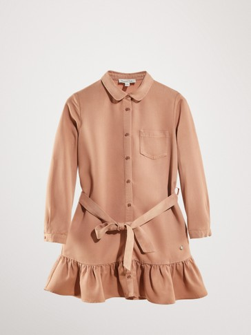 BELTED SHIRT DRESS WITH FRILLS