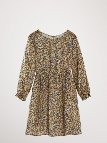 فستان مطاطي مطبع بالأزهار