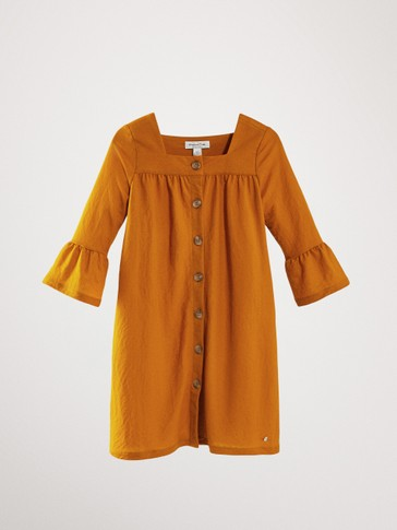 BUTTON-UP DRESS WITH SQUARE-CUT NECKLINE