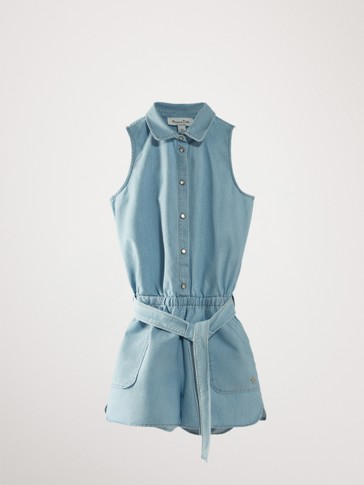 Belted denim playsuit