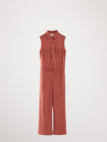 SHIRT-STYLE JUMPSUIT WITH POCKETS