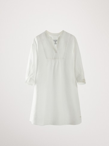 100% LINEN SHORT SLEEVE DRESS