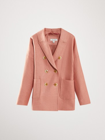 COTTON AND LINEN DOUBLE-BREASTED BLAZER