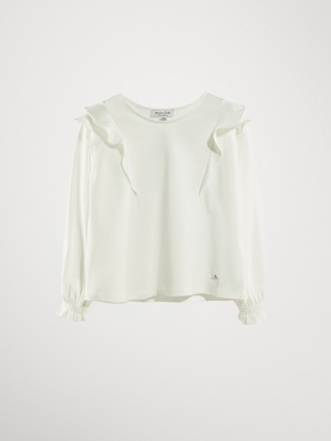 COTTON BLOUSE WITH RUFFLE TRIMS