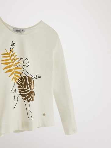 PRINTED COTTON LONG SLEEVE T-SHIRT