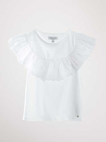 RUFFLED SLEEVE COTTON T-SHIRT