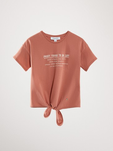 KNOTTED COTTON T-SHIRT