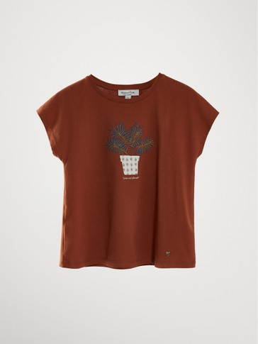 PLANT PRINT COTTON T-SHIRT