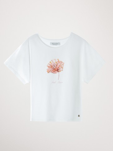 COTTON FLOWER PRINT T-SHIRT