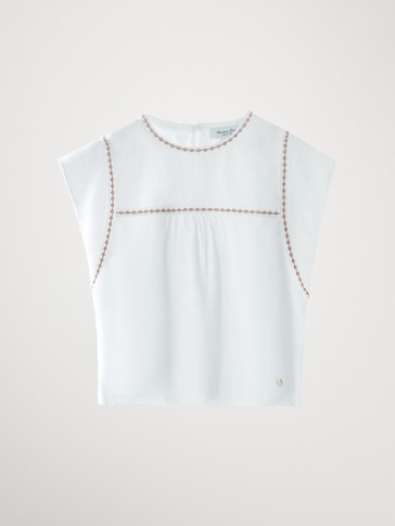COTTON T-SHIRT WITH EMBROIDERY DETAIL