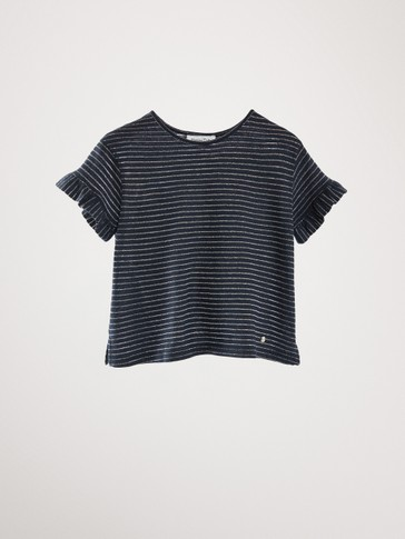 NAVY COTTON LINEN T-SHIRT WITH METALLIC DETAIL