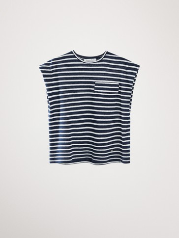 NAVY STRIPED COTTON AND LINEN T-SHIRT
