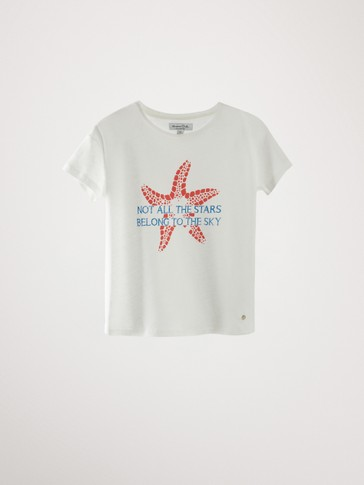 COTTON AND LINEN STARFISH T-SHIRT