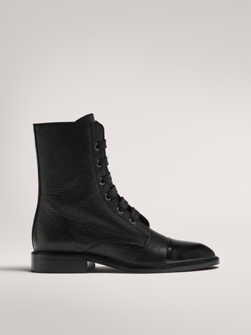 LEATHER LACE-UP BOOTS WITH TOECAP