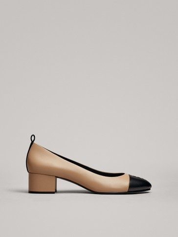 HEELED TWO-TONE SHOES WITH TOE DETAIL