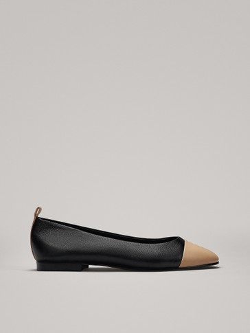 TWO-TONE BALLERINAS WITH TOE DETAIL