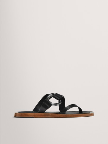 FLAT BLACK SANDALS WITH BUCKLE LIMITED EDITION
